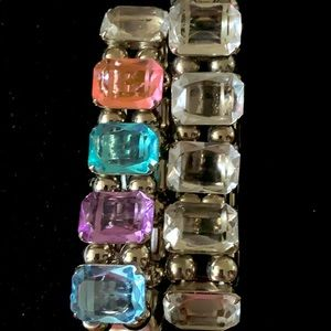 Bracelets set of 2 large clear crystal & multi guc